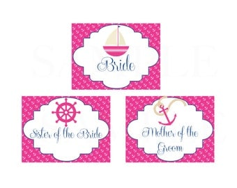 Pink and Blue Nautical Bridal Shower Tent Place Cards - Printable File