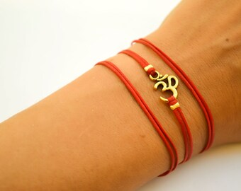 OM bracelet, wrapped bracelet with gold tone Om charm, Hindu symbol, red, gift for her, yoga bracelet, lucky charm, ohm spiritual jewelry