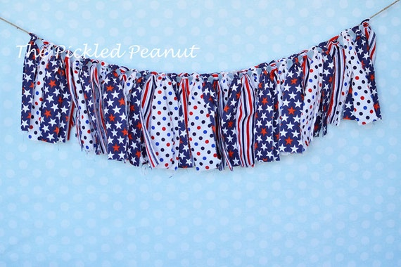 4th of July - Shabby Rag Tie Banner Bunting Photography Garland Party Decor, Birthday Military Wedding, Ribbon, Streamer, red, white, blue