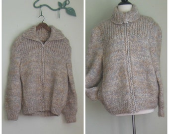 VIntage Chunky Zip Up Sweater// Gathered// Pouf Sleeve