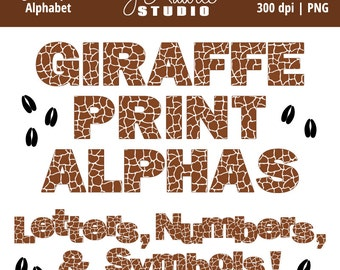 Digital Alphabet Letters Clipart-Gi raffe Print-Animal Print-Numbers ...