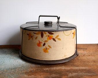 Vintage Autumn Leaf Jewel Tin Cake Carrier