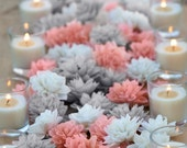 15 Coral and Grey Mixed Wooden Flowers, Wedding Decorations, Wedding Flowers, Wedding Table Decor,