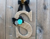 Twine Monogram Letter Wreath with Felt Rosettes and Ribbon Bow - You choose colors
