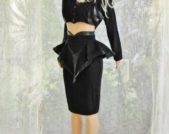 Vintage 1980s/1990s high fashion and very sexy midriff revealing suit black crop top, bustle flier pencil skirt woman's clothing