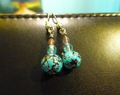 Unique Speckled Blue and Purple Czech Glass Drop Earrings