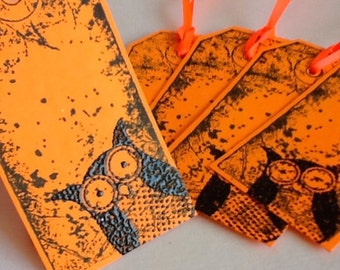 Handmade owl gift tags: Bright - orange - black owl  - set of 6 - embossed - owls - owl tags -  hand stamped - Wcards