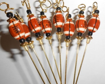 Football Party Picks, Free Formed  Appetizer Picks, Coctail Picks, Game Day Garnish Pick, Footballl Appetizer Skewers, APO358