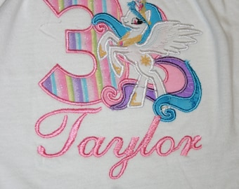 Princess Pony birthday Shirt, little Pony, Personalized Shirt, Embroidered, Appliqued, Monogrammed