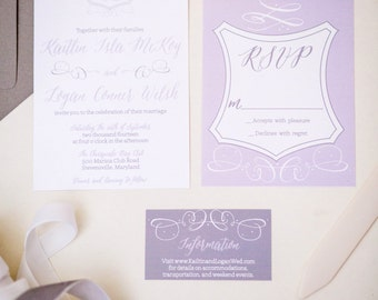 Custom Crest Wedding Invitation Suite -100