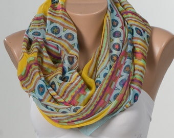 NEW Oversize Scarf or shawl. Holiday beach pareo wrap. Yellow , turquoise , brown , green , colorful circles and stars.