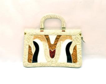 70s Faux Snake Skin Rectangle Curvilinear Pattern Handbag Purse