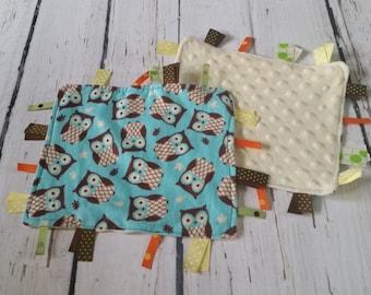 Baby Boy Owl Tag Blanket