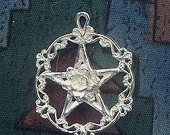 Sterling Silver Victorian Rose Pentacle Necklace, Wiccan Sub-Rosa Pentagram Pendant Jewelry, Pagan Jewelry, SE-0529