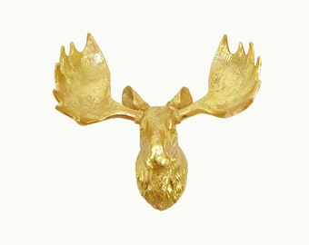 The Ines in Gold Leaf - White Faux Taxidermy Gold Leafed Moose Head - Faux Taxidermy - Chic & Trendy