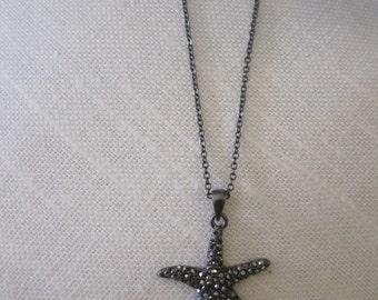 Rhinestone Starfish Necklace - Hematite Starfish Necklace - Beach Wedding - Wedding Jewelry