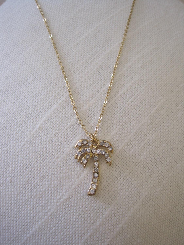 gold palm tree necklace rhinestone palm tree necklace