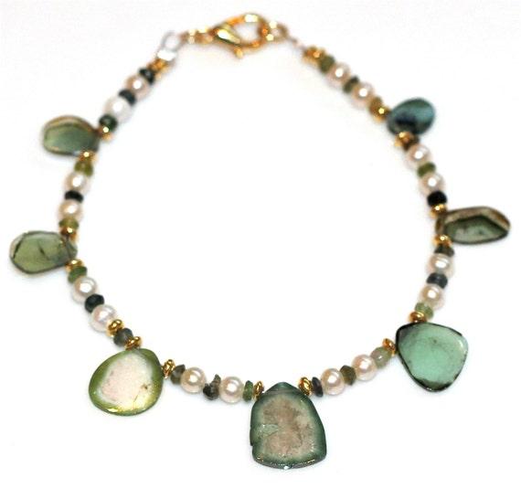 Green Watermelon Tourmaline Slice Bracelet  Tourmaline Jewelry Freshwater Pearl Bracelet Gold Bali Vermeil Bracelet FizzCandy