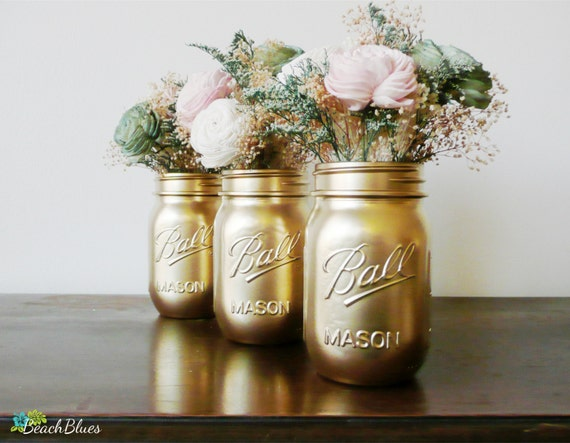 dorm decor gold ball painted mason jar pencil by beachblues