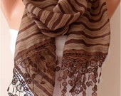 Brown Striped Chiffon Scarf with Lace Edge - Gift