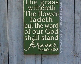 Isaiah 40:8 - Bible Verse Wall Art - Rustic - Wood Signs - Scripture Wall Art - Christian Wall Art - Word Of God - Wall Decor - Wooden signs