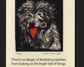 Card. Dogs. Happy, fluffy dog block print by Jesse Larsen on quality blank card w/quote. Timeless, smart, soulful. Free US shipping.
