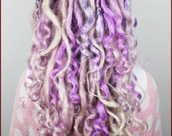 Full Set Lavender & Blonde Curly Dread Extension. Single, Double Ended Dreads or Mix, 20 inches.