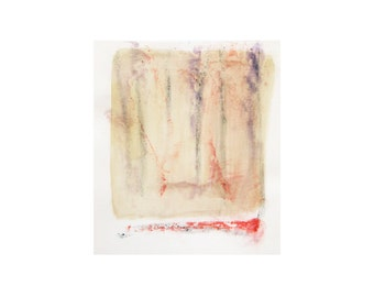 "Original watercolor painting. Minimal abstract in dusty yellow, purple and red 8.6""x10"""
