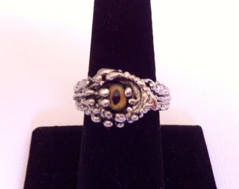 "Vintage Figural Dragon Eye Ring,  Silverplated, Artisan Made, Size 8, Ornate and Wild, ""The Exoskeleton"""