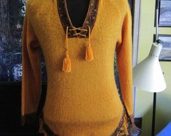 1970's Orange Wool Fringed  Hoody