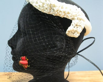 Vintage 1940's Black White Straw Hat Birdcage Netting with Bee detail