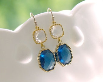 Sapphire and Gold Earrings - Navy Gold Dangle Earrings - Square Drop - Estate Vintage Style  - September - Bridesmaid Navy Earrings -