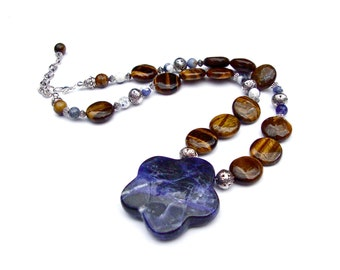 Large Sodalite Pendant and Tigers Eye Beaded Necklace, Big Stone Flower Pendant, Round Flat Stone Bead Necklace, Navy Blue & Brown Necklace