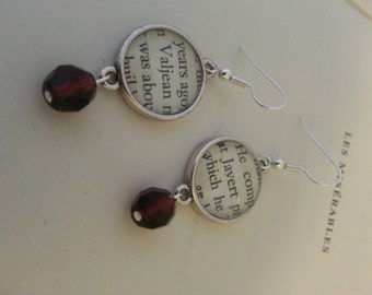 Les Miserables Jean Valjean and Javert Book Page Earrings