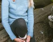 Antrorse Sweater Knitting Pattern Funnel Button Neck Modern Chevron Arrow Textured Pullover PDF