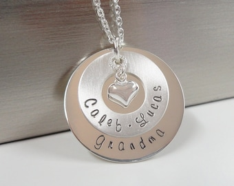 Sterling Silver Grandmother Necklace  - Hand Stamped Personalized Jewelry - Mommy Necklace - Gift for Grandma - Mother's Day Gift