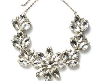 S.U.P.E.R SALE was 750 now 450 showstopping runway couture vintage huge SWAROVSKI crystal flower necklace