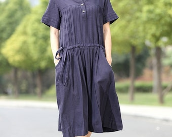 Navy Linen Dress - Casual Dark Blue Short-Sleeved Pleated Mid-Length Everyday House Dress for Women with Drawstring Waist C268