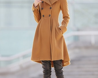 brown coat winter coats for women 100% cashmere jacket C175