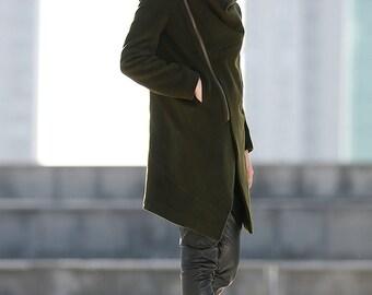 Army Coat, winter coat, green coat, coat, cowl neck coat, army green coat, winter jacket women, jackets, womens coats, womens jackets  C189
