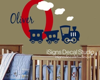 Train Wall Decal - Nursery Train Decal,Train Decal, Custom Name Train Decal,  Kids Room, Playroom Train Wall Decal Stickery