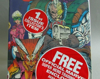 Vintage X-Force Comic Book, No. 1, 1D, or 1E Bagged & Unopened with Choice of Trading Card, August 1991, Marvel Comics