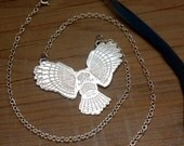 Owl jewelry, Nocturne, engraved sterling silver owl necklace