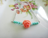 Coral Rose and Teal Parfait Bracelet - Czech glass mint and turquoise faceted crystal and silver bracelet