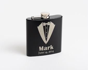 Personalized Groomsmen Gifts, Flasks, Tuxedo Flask, Best Man, Wedding Party, Groomsmen Gifts, Flask