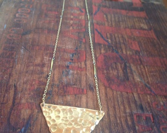Vintage brass chain with hammered triangle charm