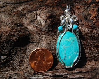 Nevada Turquoise Designer Cabochon Wire Wrapped Pendant.