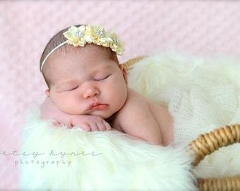 Ivory Baby Headband, Infant Headband, Toddler Headband, Triple Satin Flower Headband on skinny elastic