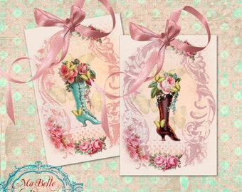 Gift Tags, Victorian Boots with Roses and Butterflies in a Frame- INSTANT Digital Download