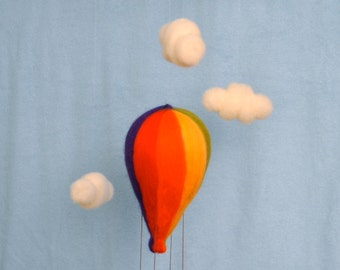 Hot Air Balloon  Baby Mobile Waldorf inspired needle felted  :  Boy or Girl